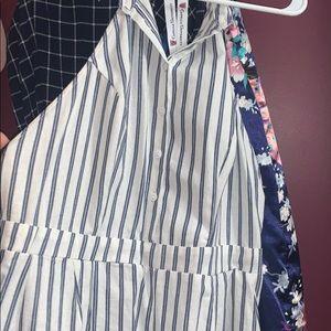 Women's white and blue striped romper
